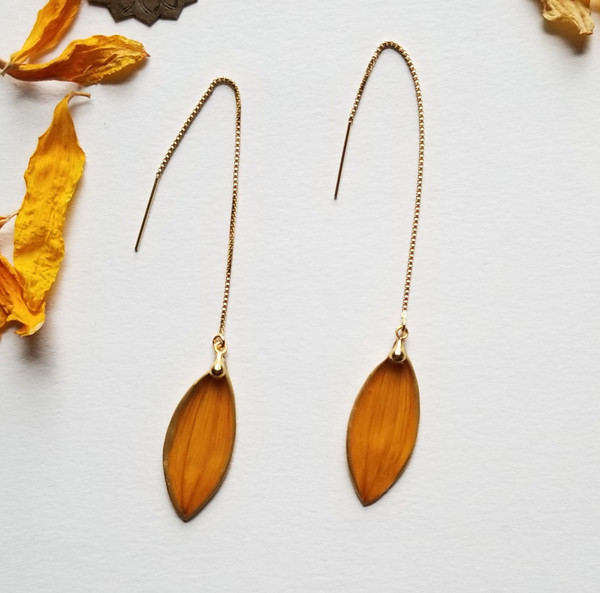 Sunflower Petal Ear Threads- 14K GF
