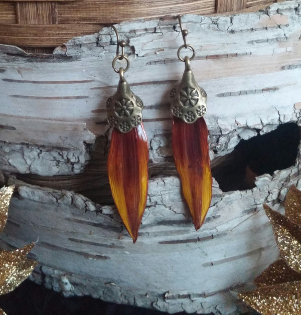 Sunflower Petal Earrings (#RYWD12179)