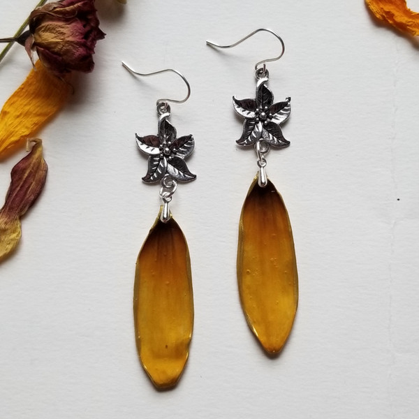 Black-Eyed Susan Earrings- Sterling Silver with 5-Point Flower