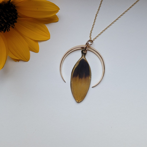 Black-Eyed Susan Pendant Necklace- Crescent Moon with 14K GF and 18 Inch Chain