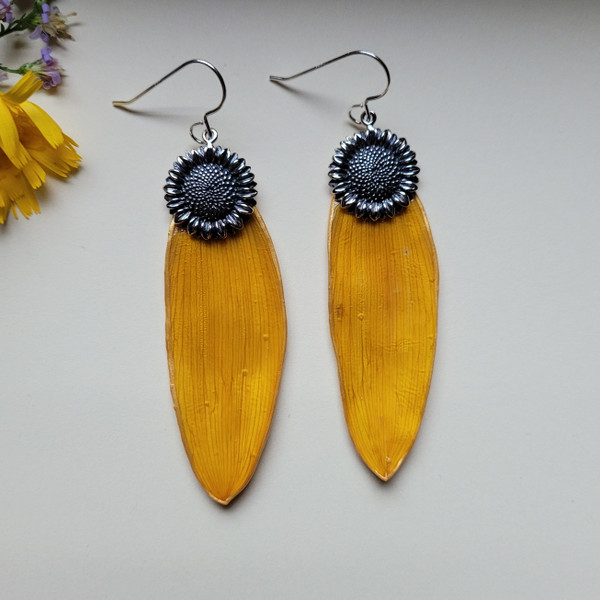 Sunflower Petal Earrings- Large Yellow with Sterling Silver Sunflower Charm