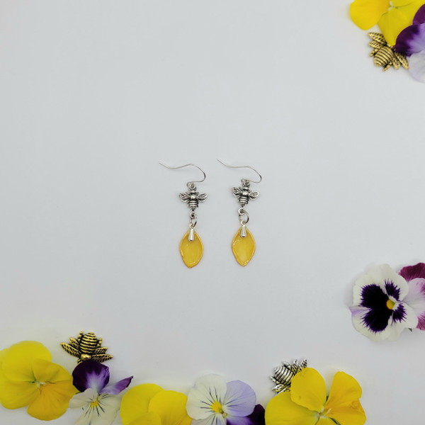 Daffodil Flower Petal Earrings- Small with Bee Sterling Silver- Bee-Loved Collection