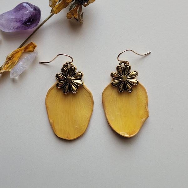 Daffodil Petal Earrings- Flower Charm and 14k GF