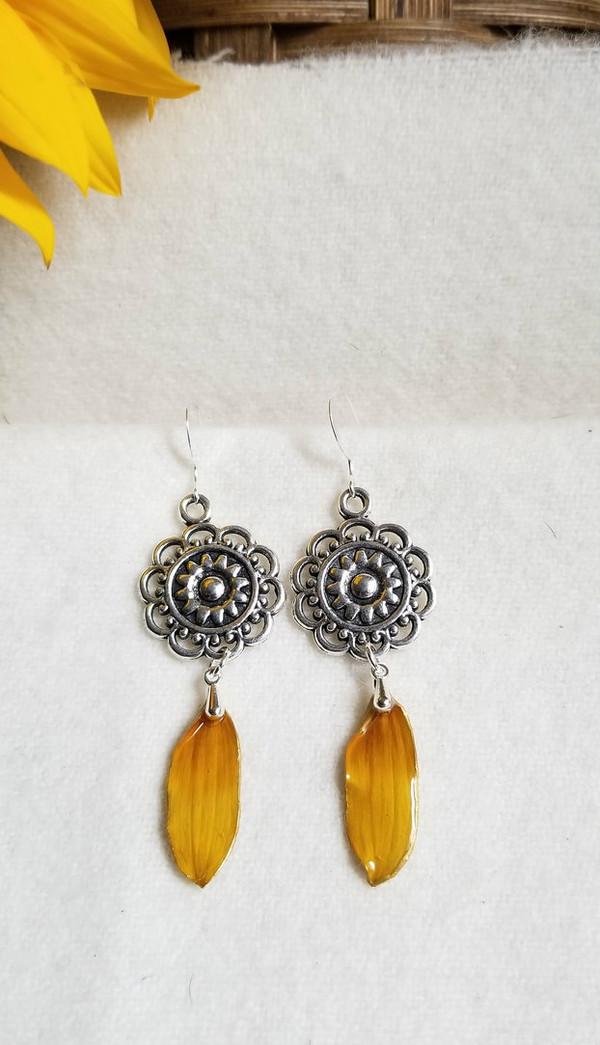 Black-Eyed Susan Mandala Earrings- Sterling Silver