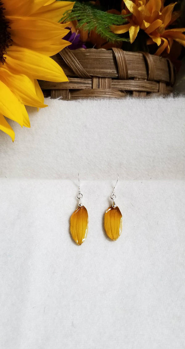 Black-Eyed Susan Earrings- Small w/ Sterling Silver