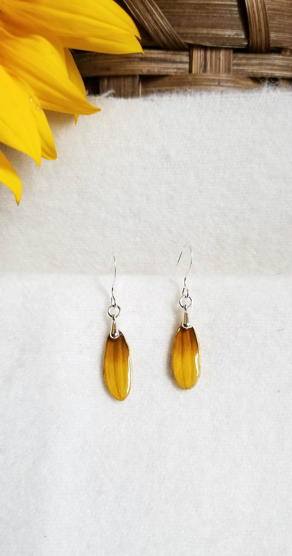Black-Eyed Susan Earrings- Small with Sterling Silver