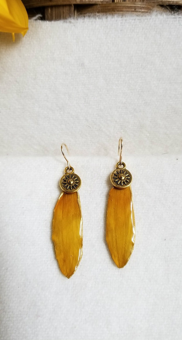 Black-Eyed Susan Earrings- 14k GF with Sun Charm