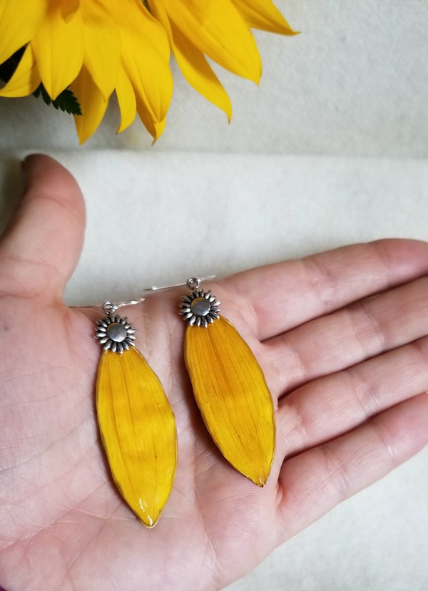 Sunflower Petal Earrings- Large Yellow w/ Sterling Silver & Sunflower Charm