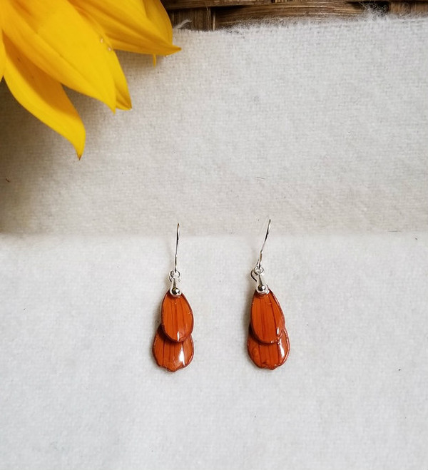 Orange Cosmos Earrings -Double Petal with Sterling Silver