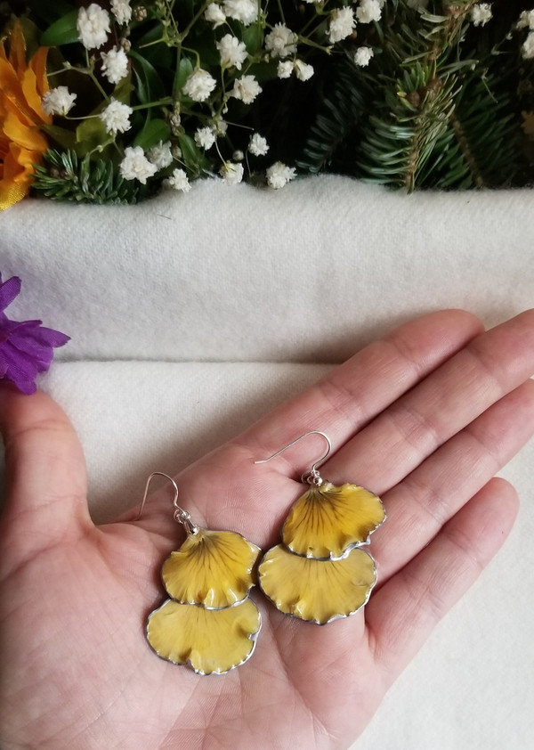 Pansy Petal Earrings- Yellow/Blue Double Petal with Sterling Silver