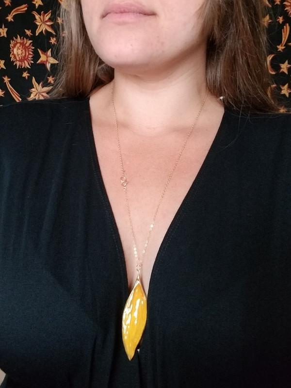 Sunflower Petal Necklace- 14k GF Large