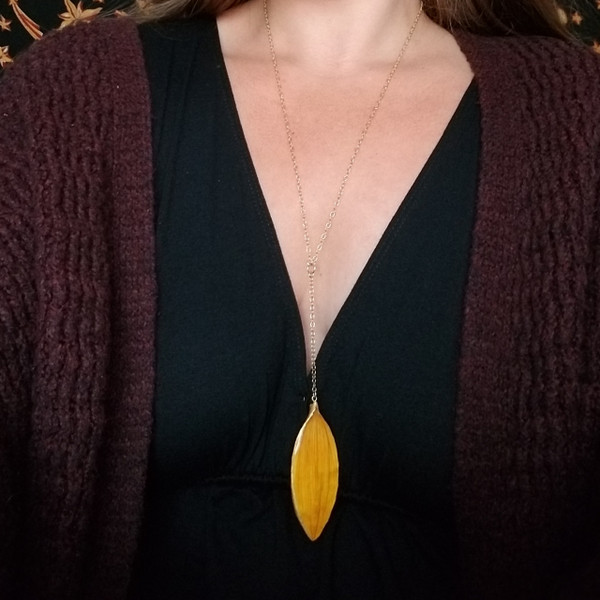Sunflower Petal 'SunDrop' Necklace- Large Yellow with 14k GF