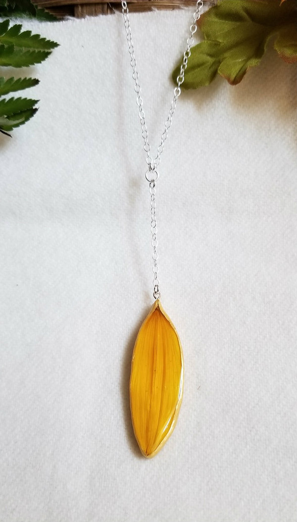 Sunflower Petal 'SunDrop' Necklace- Small Yellow with Sterling Silver