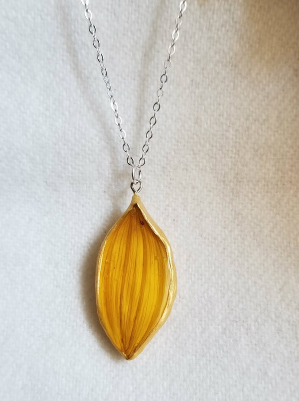 Sunflower Petal Necklace- Small Wide Yellow with Sterling Silver