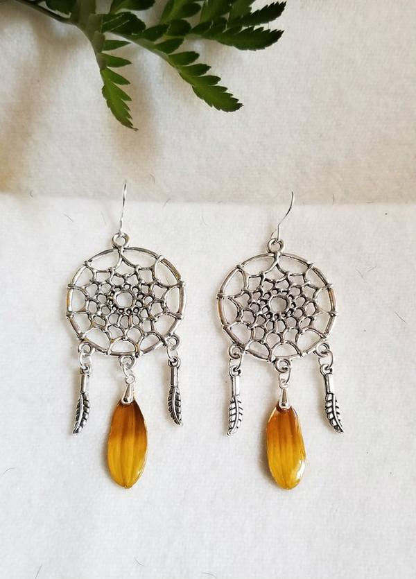 Black-Eyed Susan Dreamcatcher Earrings- Sterling Silver
