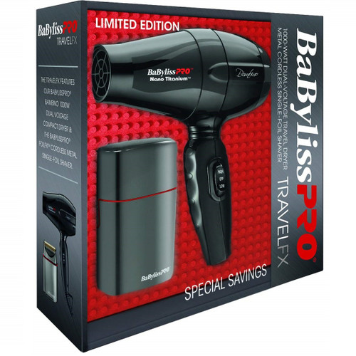 Babyliss Combo Bambino Blow Dryer and Cordless Metal Single Foil Shaver