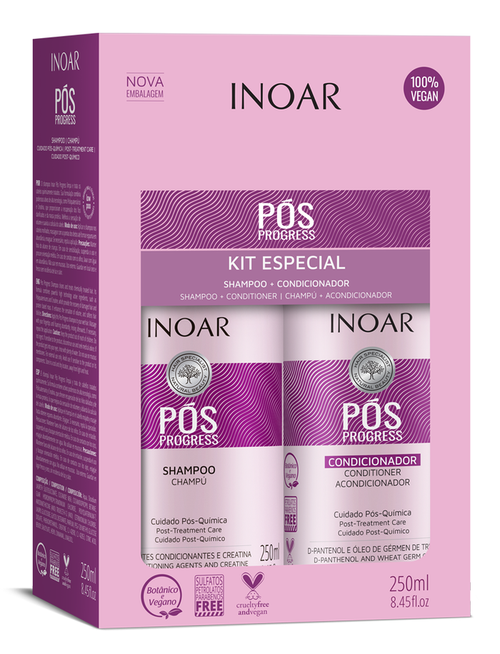 Inoar Pos shampoo and conditioner kit boxed