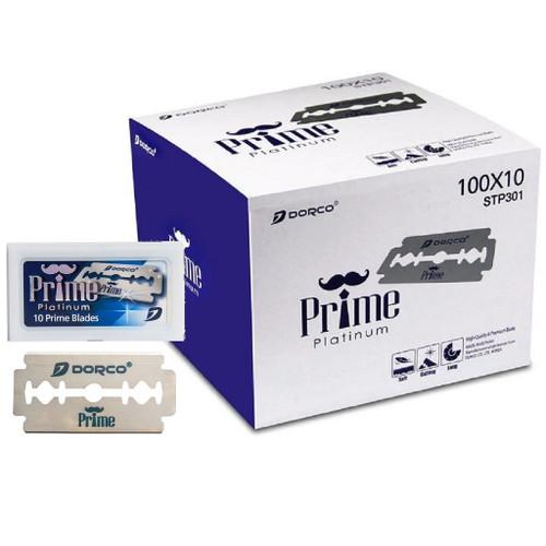 Dorco Prime Platinum Double Edge Blades - 1,000 Blades (100 Blades X 10 Box) #STP-301