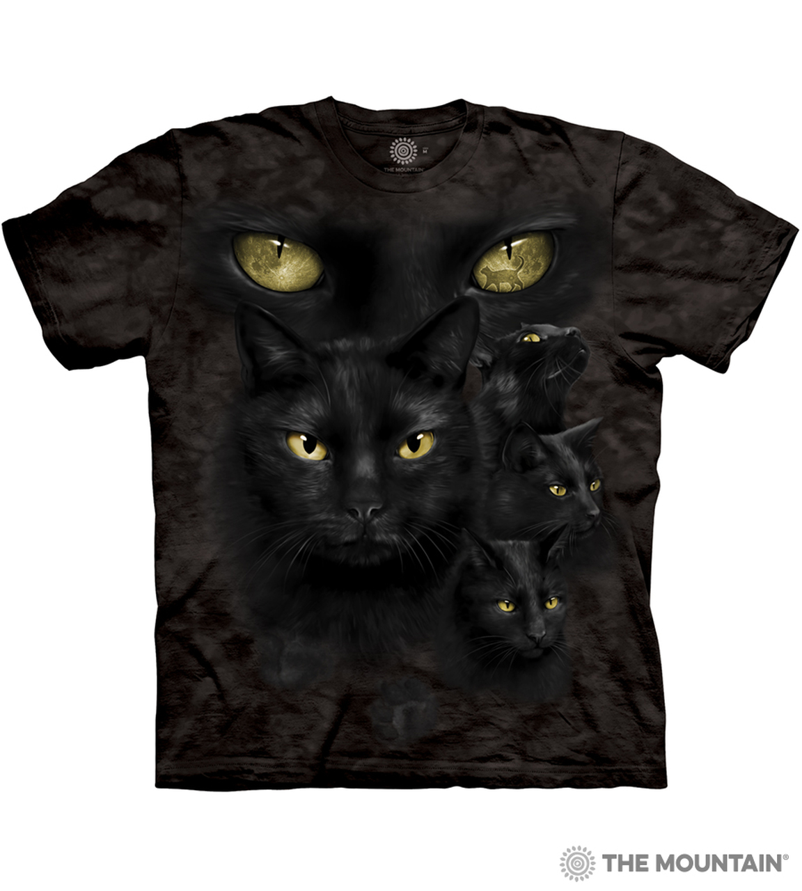 FOUR EYES BLACK CAT MAGIC WITCHCRAFT FANTASY MOON Womens Black Hoodie
