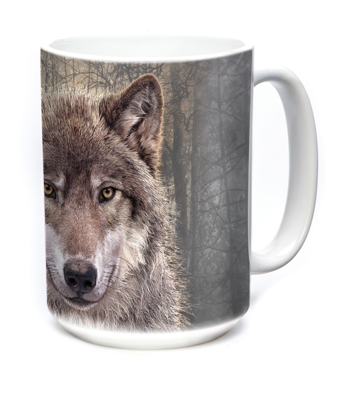 Gray Wolf Forest Ceramic Mug By The Mountain