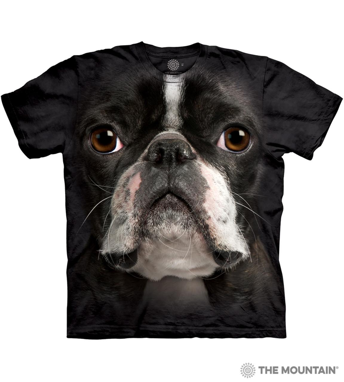 The Mountain Adult Unisex T Shirt Boston Terrier Face