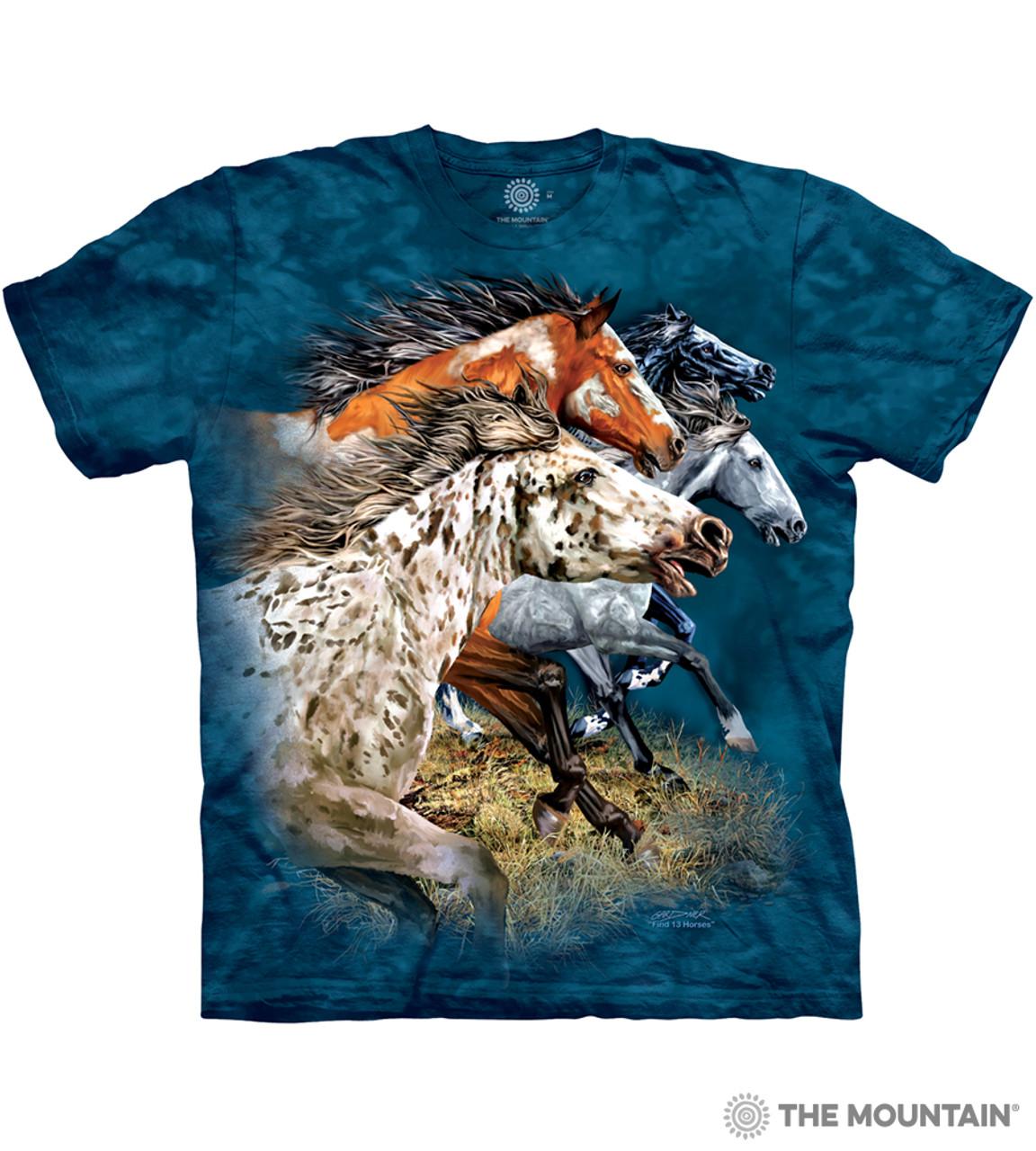 The Mountain Adult Unisex T-Shirt Running Free Horses Men/'s Blue Tee