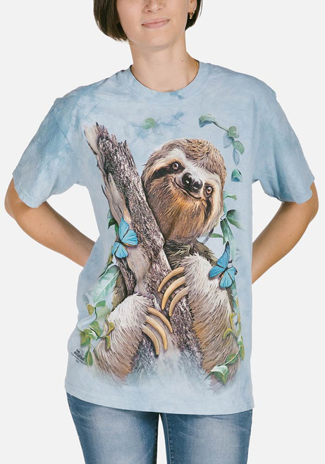 0da31aae8b7 The Mountain Adult Unisex T-Shirt - Sloth   Butterflies