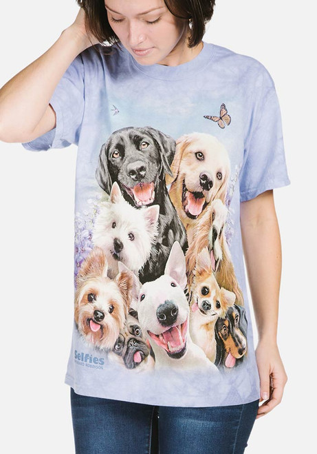 51c2521dd669 The Mountain Adult Unisex T-Shirt - Dogs Selfie