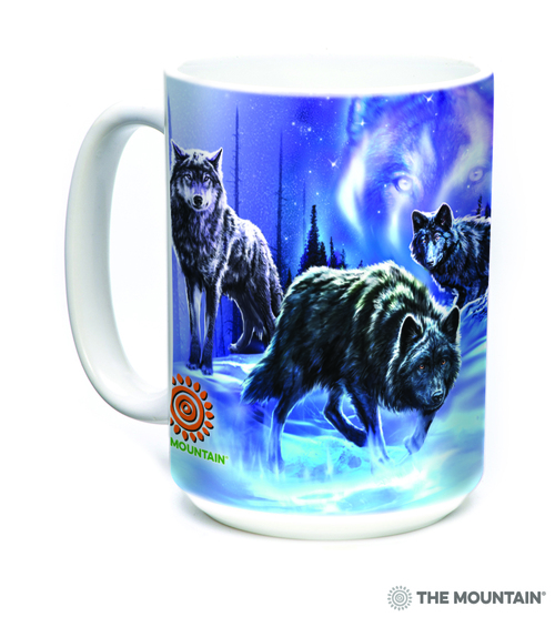 The Mountain 15oz White Ceramic Wolves Animal Mug Woodland Companions