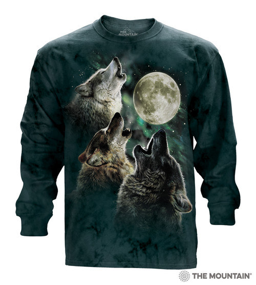f073e676e0f The Mountain Adult Long Sleeve T-Shirt - Three Wolf Moon