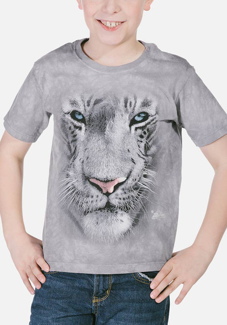 78ed6a2deeb5f The Mountain Kid's T-Shirt - White Tiger Face
