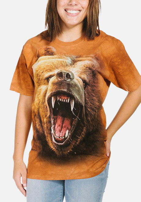 NEW GRIZZLY GROWL Bear Native American Big Face The Mountain T Shirt Adult Sizes