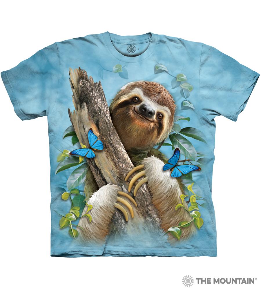 774c6df34 The Mountain Adult Unisex T-Shirt - Sloth & Butterflies