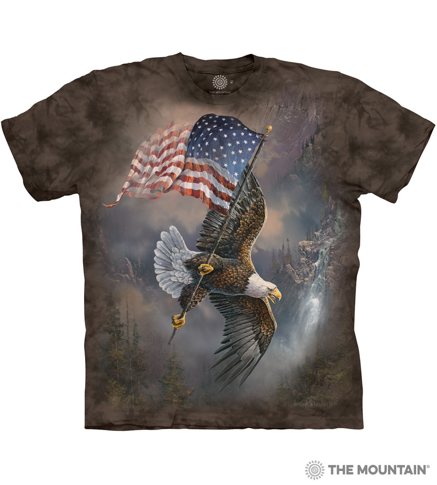 The Mountain Adult Unisex T-Shirt - Flag-Bearing Eagle d07f666d1