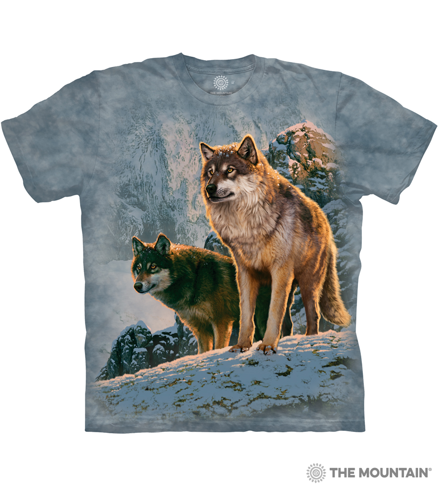 ddde2a2729 The Mountain Adult Unisex T-Shirt - Wolf Couple Sunset