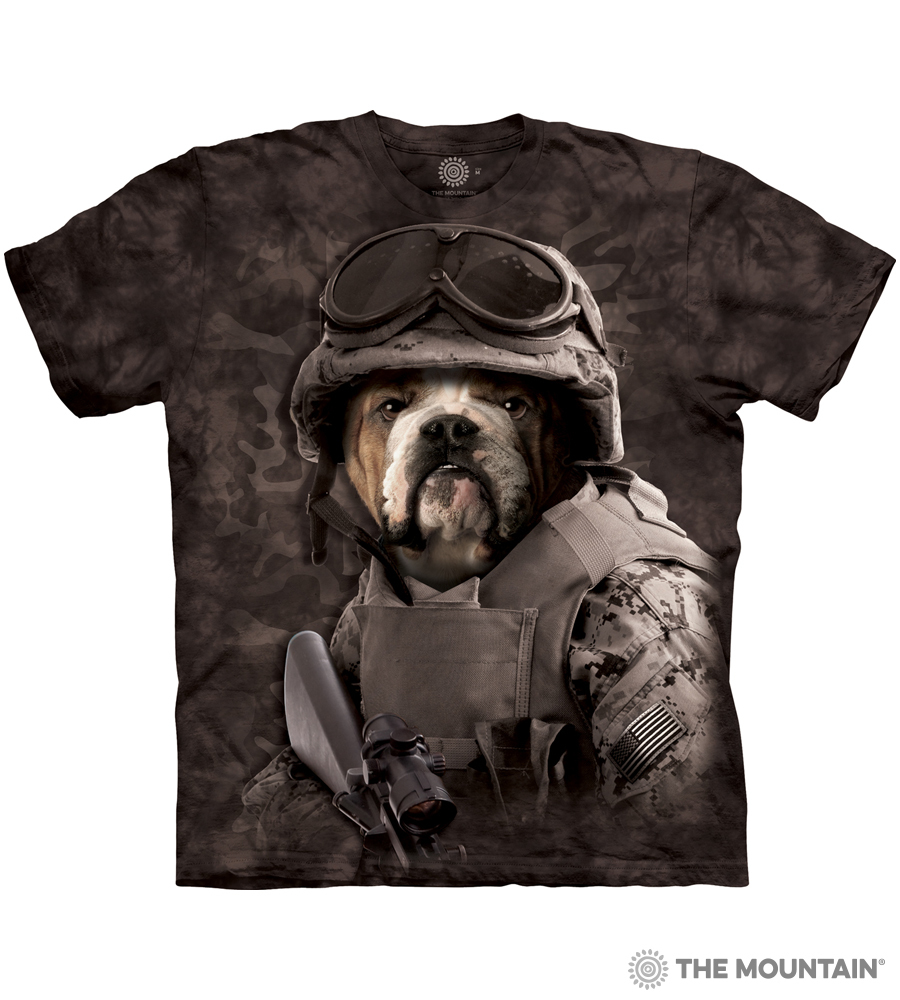 NEW The Mountain Combat Sam Soldier Warrior BullDog Adult  T-Shirt 100/% Cotton