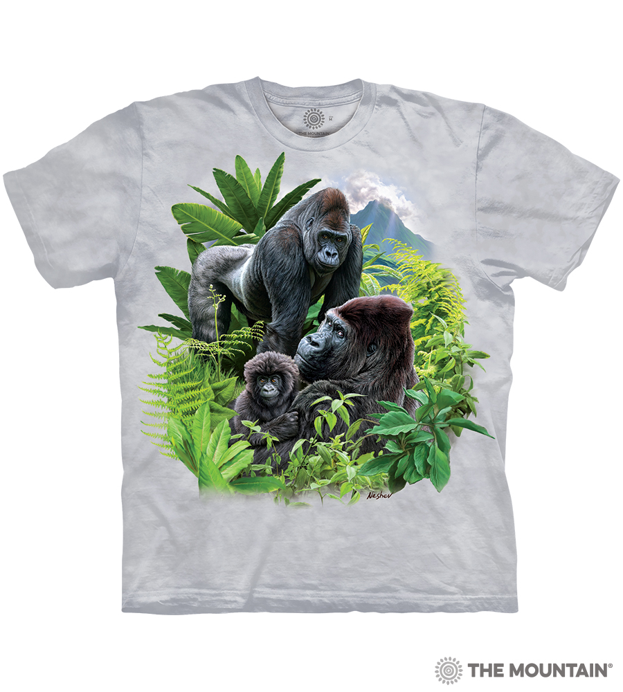 Sizes Vary The Mountain Smiling Gorilla Unisex Adult Graphic T-Shirt Blue