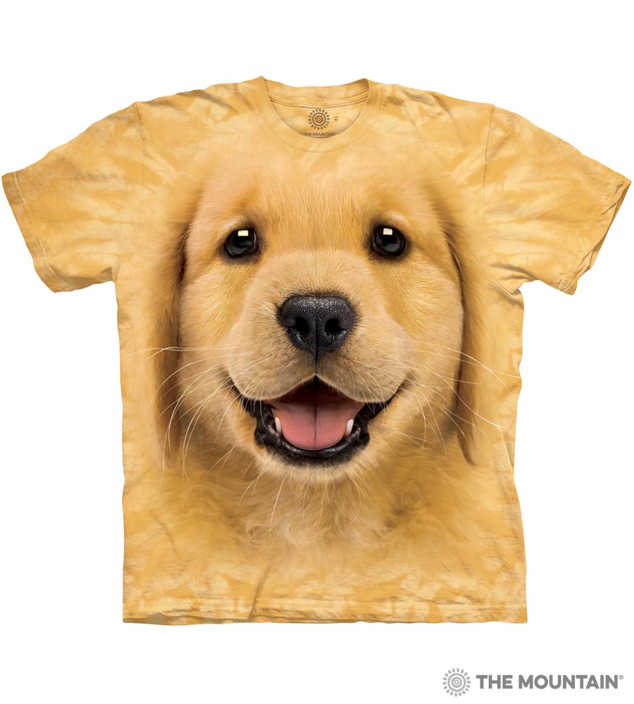 57874f445a The Mountain Adult Unisex T-Shirt - Golden Retriever Puppy