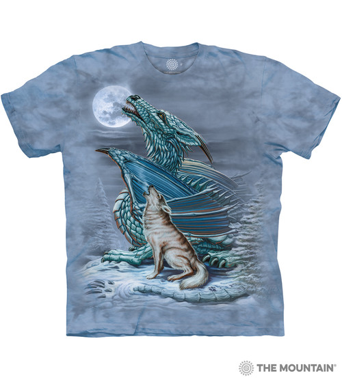 Howling at the Moon Sizes S-5XL NEW Dragon Wolf T-Shirt by The Mountain
