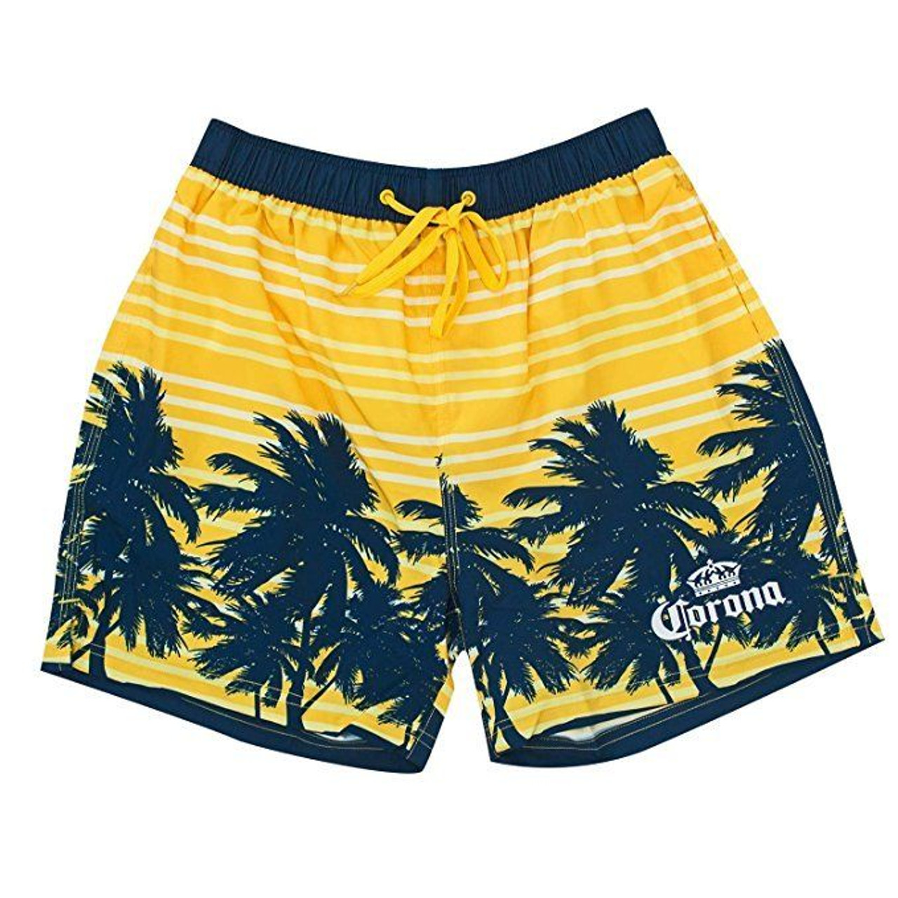 072c869ec7 Corona Palm Tree Print Stripe Summer Beach Bathing Suit Mens Board Shorts  CMES7 - Fearless Apparel