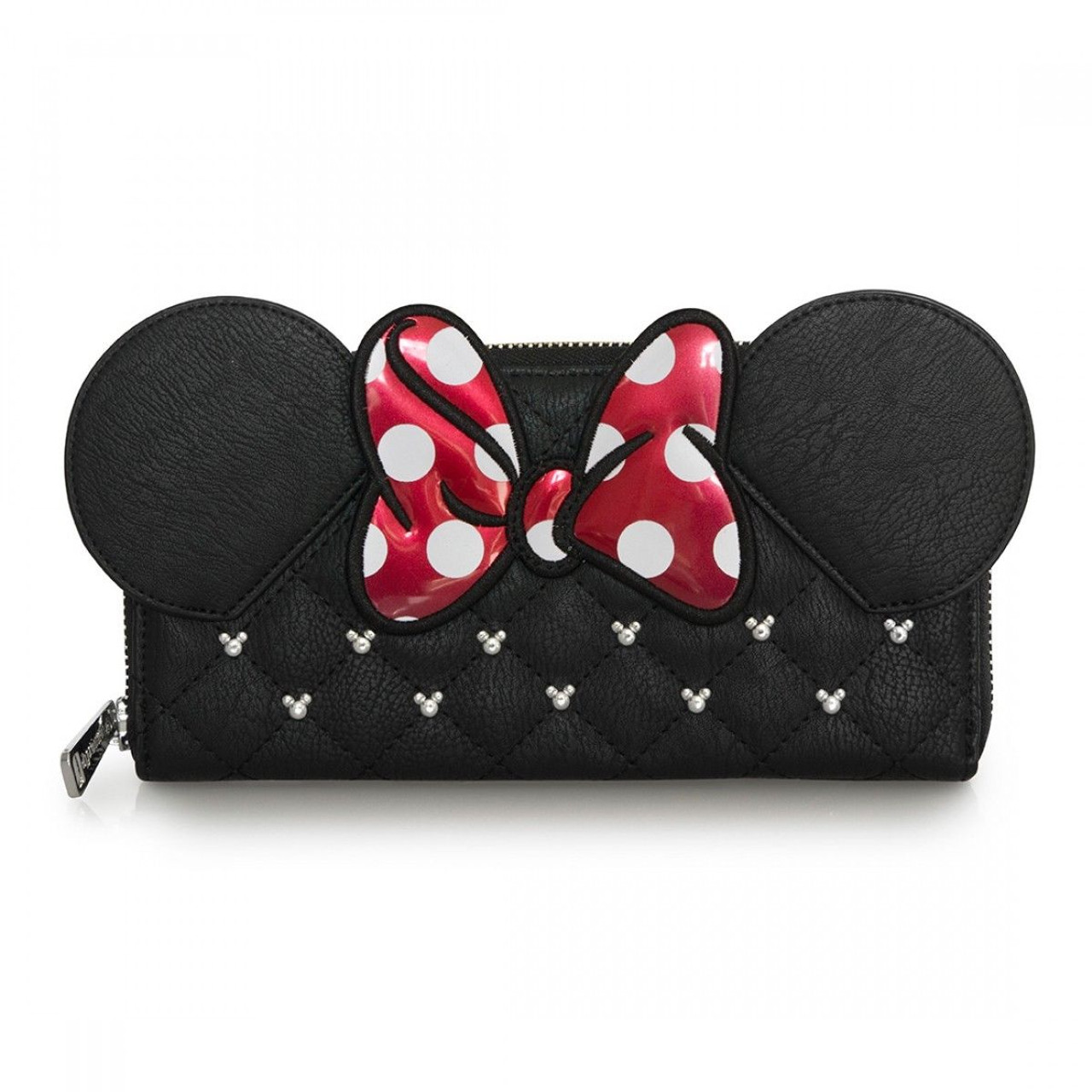 b87d375e1c85 Loungefly Minnie Mouse Bow Disney World Mickey Ears Zip Around Wallet  WDWA0564