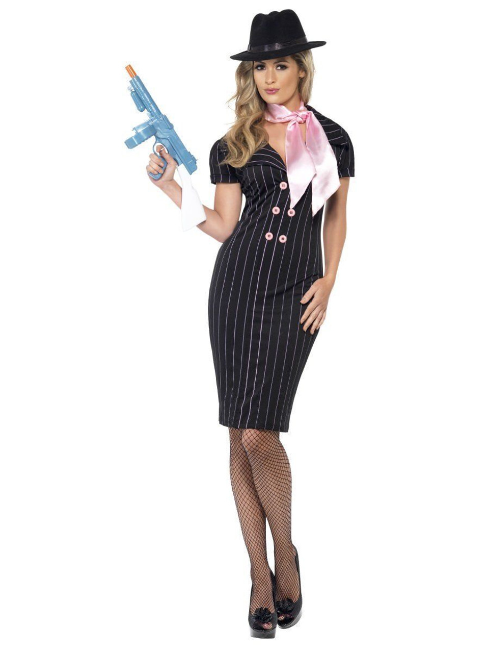 smiffys gangster's moll mafia mobster adult womens halloween costume