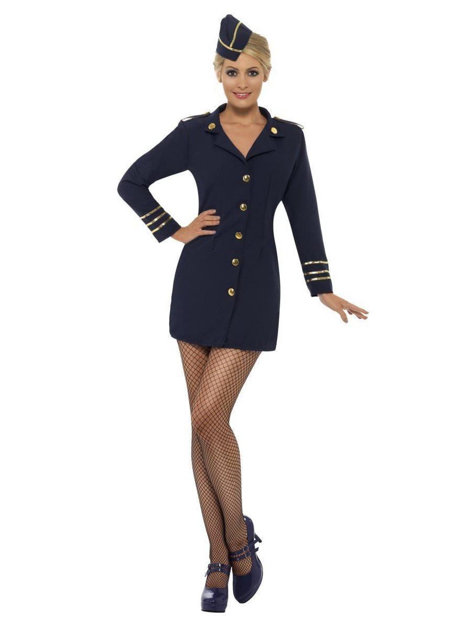 smiffys flight attendant navy blue air hostess womens halloween