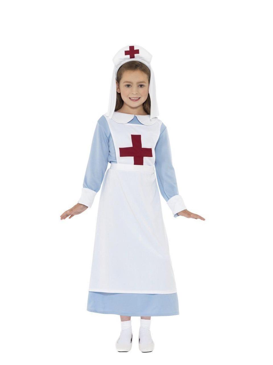 752822db20f22 Smiffys WW1 World War 1 Nurse First Aid Child Girls Halloween Costume 44026