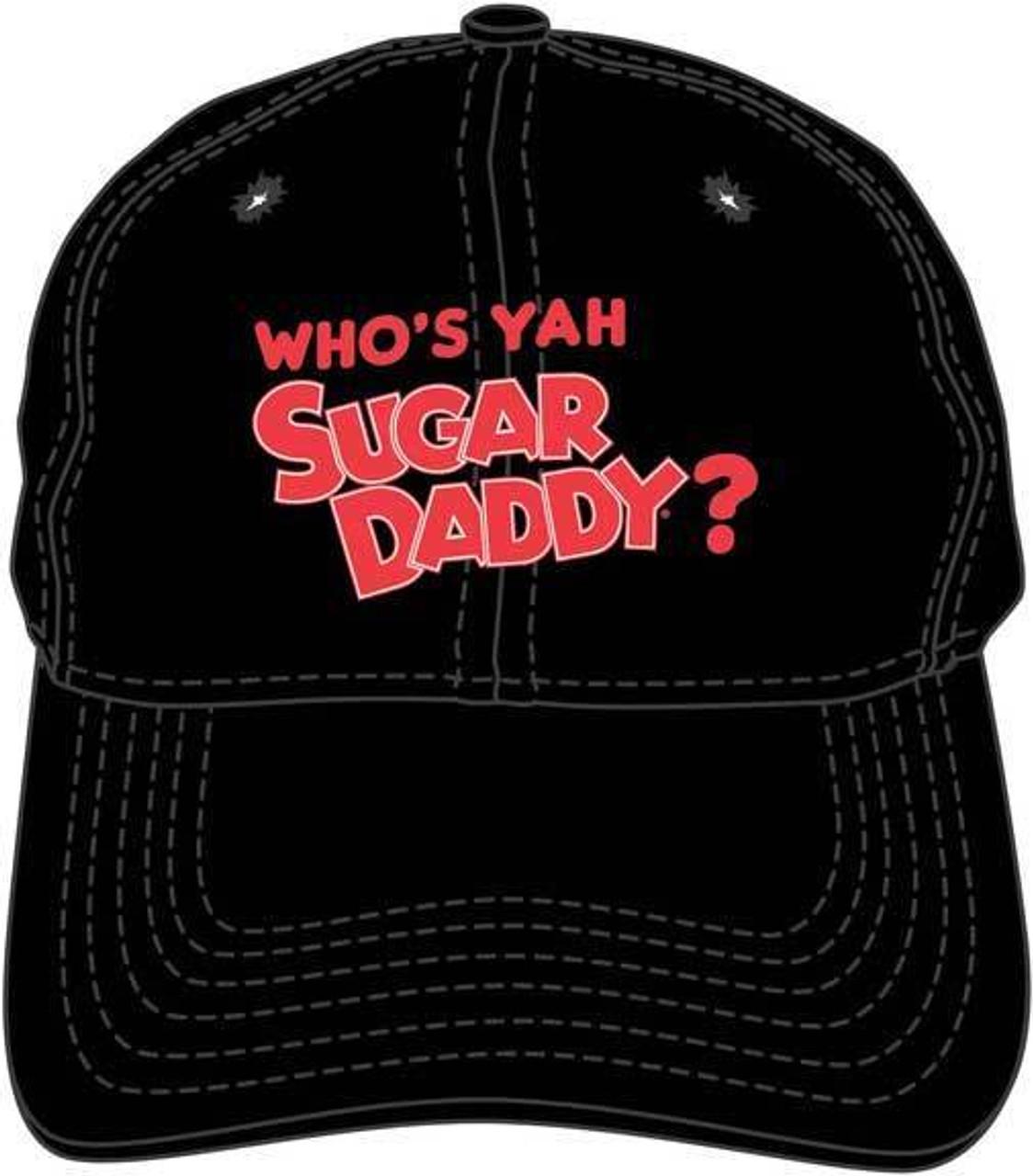 4abeec59dc60d0 Who's Yah Sugar Daddy Candy Black Embroidered Dad Hat Baseball Cap  BA01837TRIU
