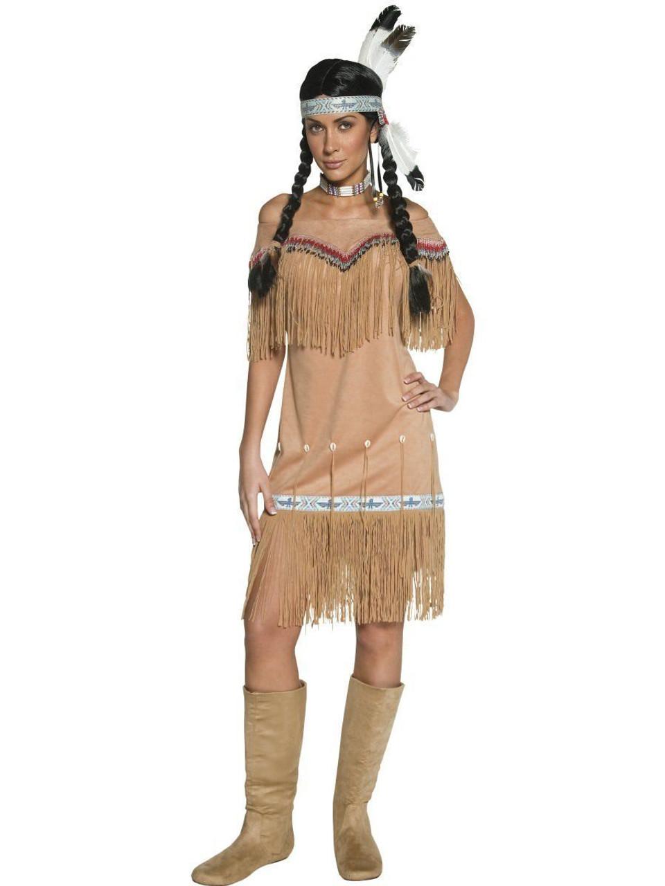 Woman Girl Indian Native American Wild Western Fancy Dress Halloween Costume