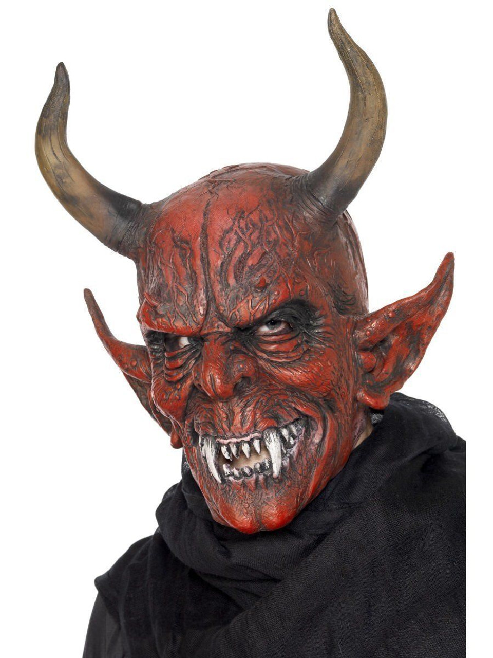 Smiffys Devil Demon Satan Demonic Halloween Costume Overhead Latex Mask  25314