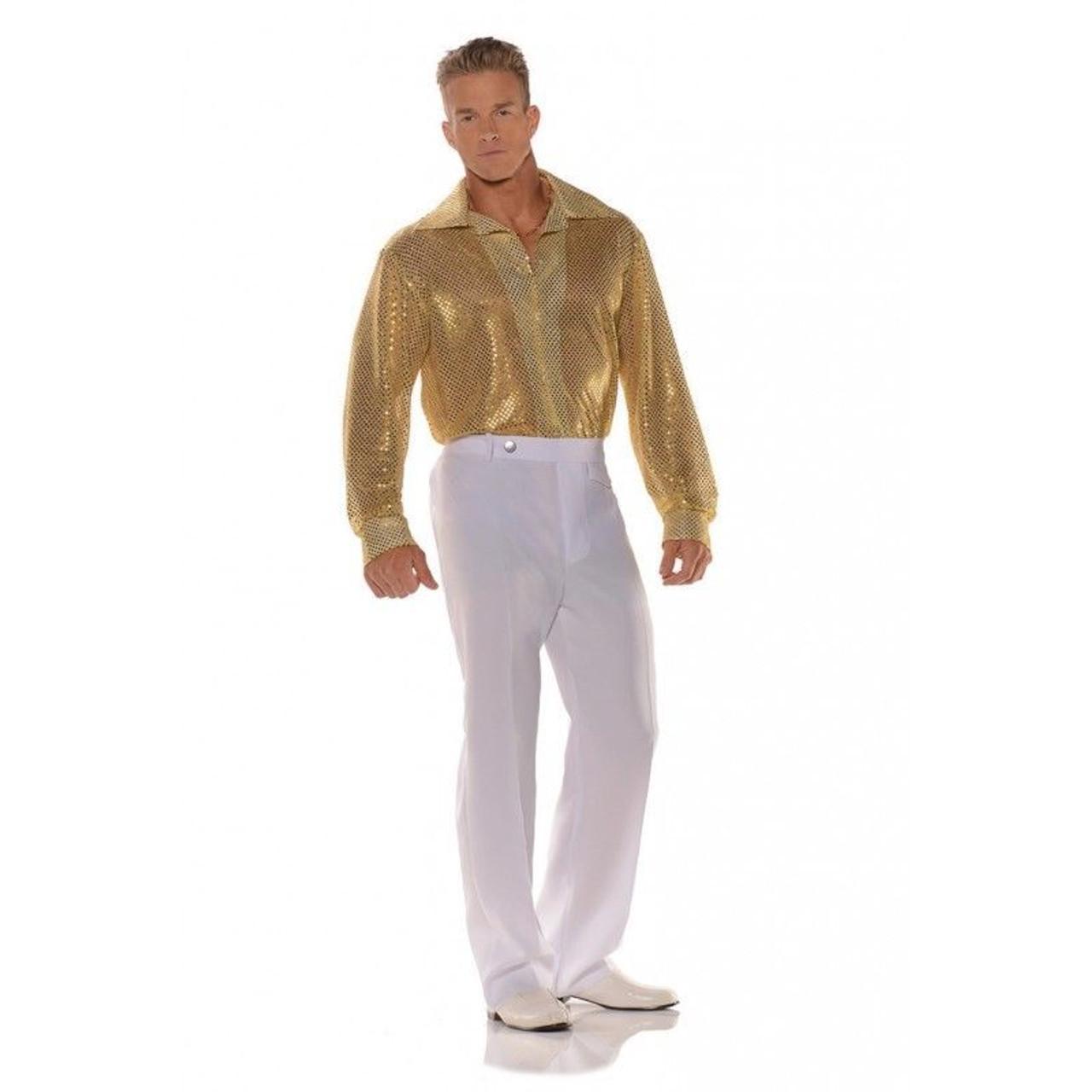 bac6c1f7b8d8e7 Underwraps Gold Sequin 70's Disco Shirt Adult Mens Halloween Costume 28591