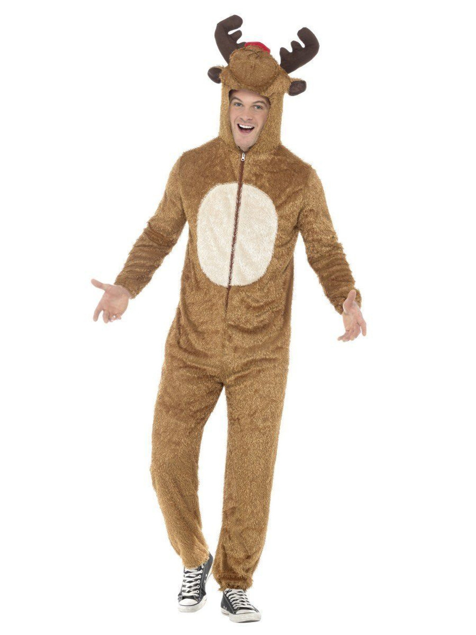 Halloween Costume 370.Smiffys Rudolph Red Nose Reindeer Adult Mens Halloween Costume Jumpsuit 31668