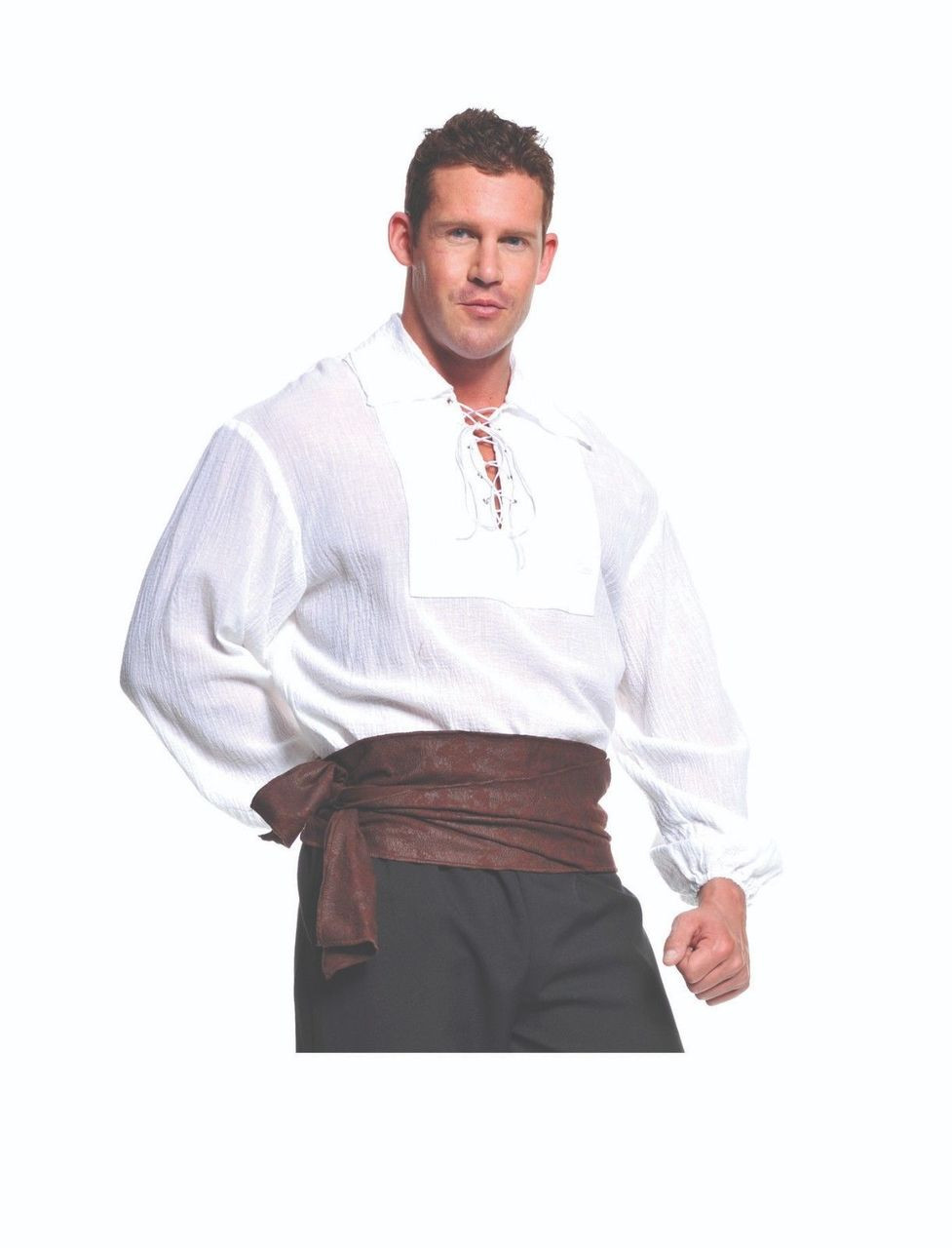 33a78e9d184 Underwraps Pirate Shirt White Nautical Lace Adult Mens Halloween Costume  29302